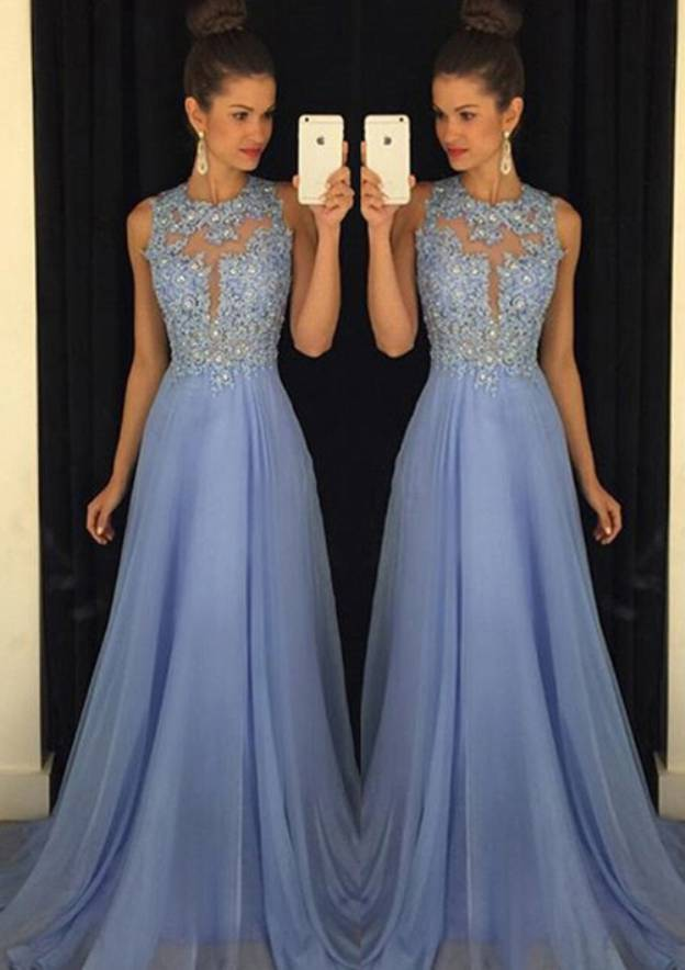 A-Line/Princess Scoop Neck Sleeveless Sweep Train Chiffon Prom Dress With Crystal Appliqued
