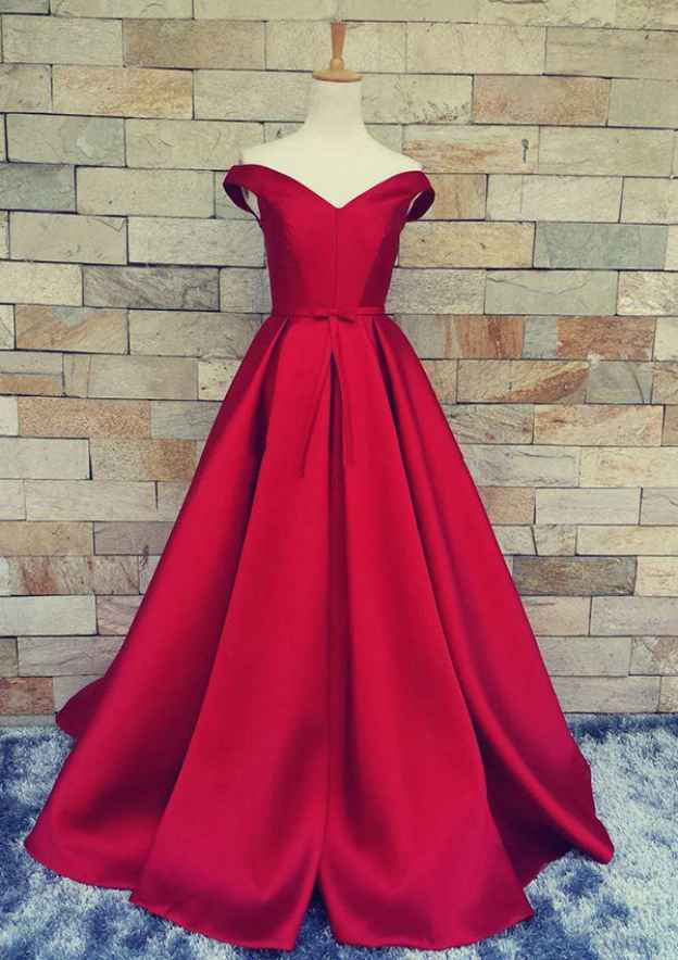 A-Line/Princess V Neck Sleeveless Sweep Train Satin Prom Dress With Waistband Bowknot