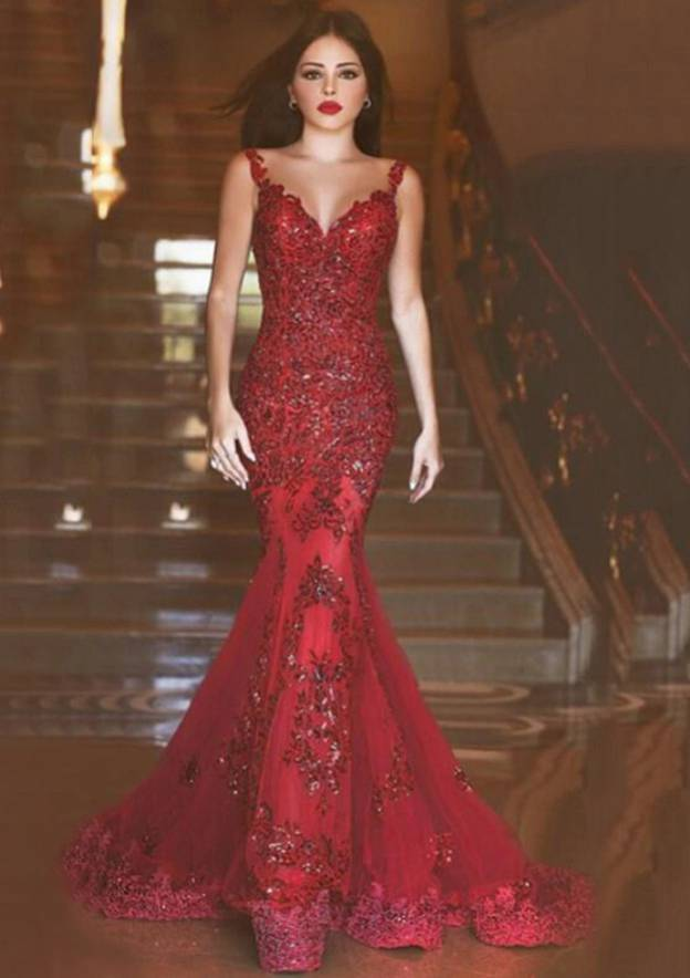Trumpet/Mermaid Sweetheart Sleeveless Sweep Train Tulle Evening Dress With Crystal Appliqued