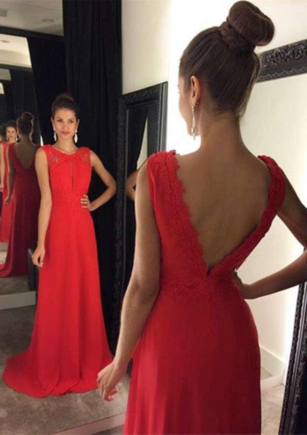 A-Line/Princess Bateau Sleeveless Sweep Train Chiffon Prom Dress With Lace