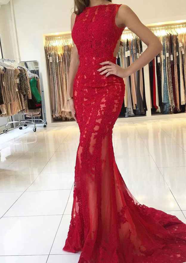 Trumpet/Mermaid Bateau Sleeveless Sweep Train Lace Prom Dress With Sequins