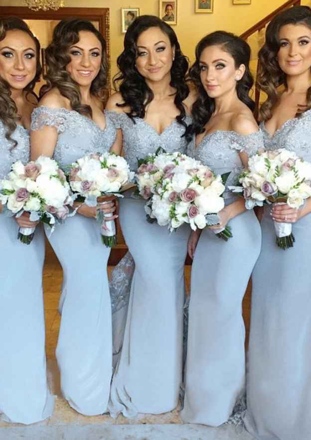 Trumpet/Mermaid Off-The-Shoulder Sleeveless Court Train Charmeuse Bridesmaid Dresseswith Lace Appliqued
