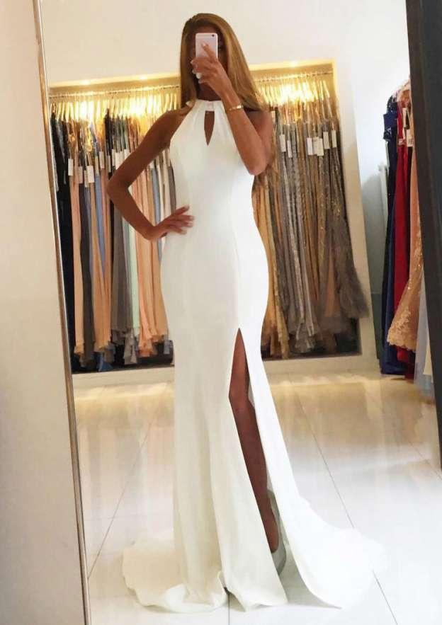 Sheath/Column Halter Sleeveless Sweep Train Satin Prom Dress With Split