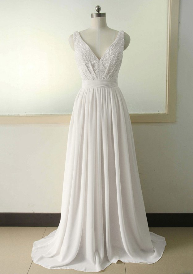 A-Line/Princess V Neck Sleeveless Sweep Train Chiffon Prom Dress With Sequins Crystal Detailing