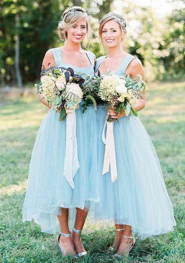A-Line/Princess Square Neckline Sleeveless Asymmetrical Tulle Bridesmaid Dresses