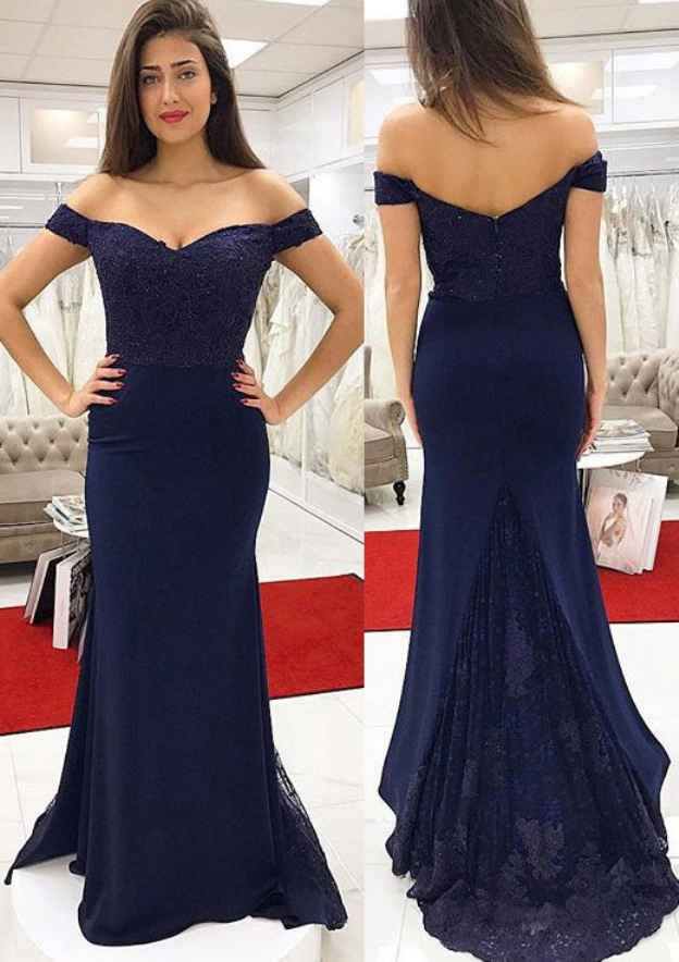 Sheath/Column Off-The-Shoulder Sleeveless Sweep Train Jersey Prom Dress With Appliqued Lace