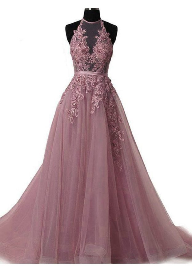 A-Line/Princess Halter Sleeveless Court Train Tulle Prom Dress With Appliqued Sequins
