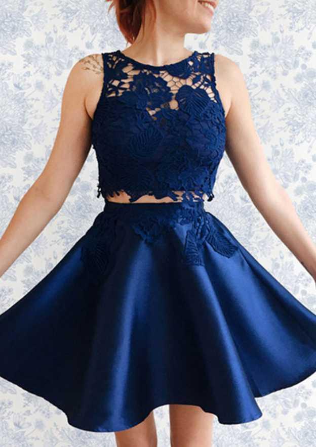 A-Line/Princess Bateau Sleeveless Short/Mini Satin Homecoming Dress With Appliqued
