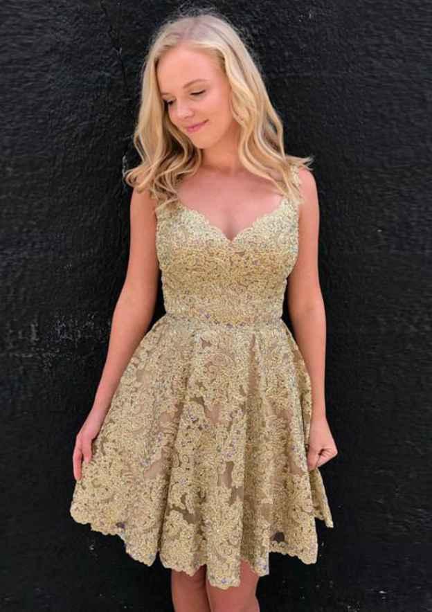 A-Line/Princess Sweetheart Sleeveless Short/Mini Lace Homecoming Dress