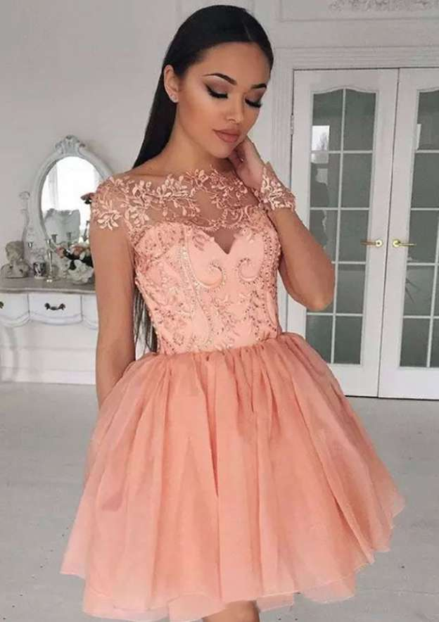 A-Line/Princess Scalloped Neck Full/Long Sleeve Short/Mini Tulle Homecoming Dress With Appliqued Sequins
