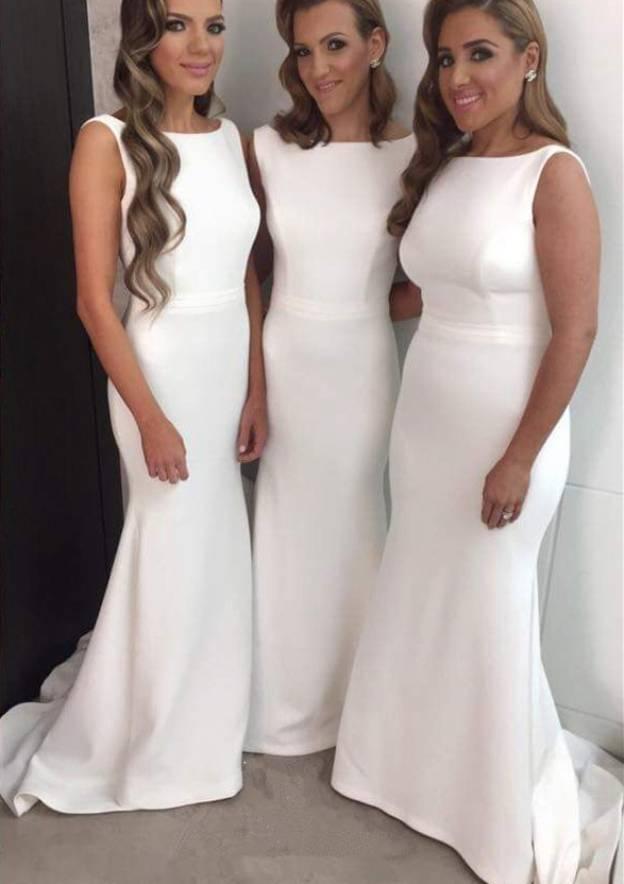 Trumpet/Mermaid Bateau Sleeveless Sweep Train Elastic Satin Bridesmaid Dresses