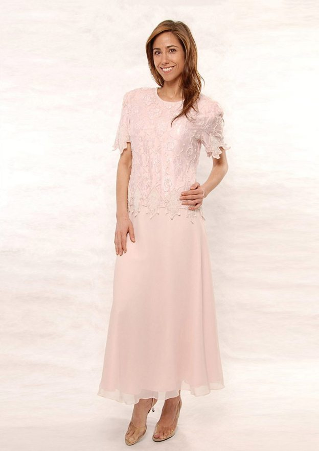 A-Line/Princess Scoop Neck Short Sleeve Ankle-Length Chiffon Mother Of The Bride Dress With Lace