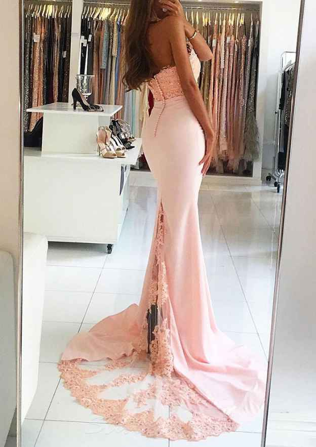 Trumpet/Mermaid Halter Sleeveless Sweep Train Evening Dress With Beading Appliqued