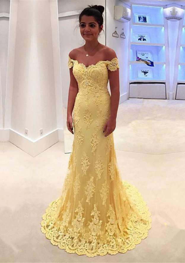 Sheath/Column Off-The-Shoulder Sleeveless Sweep Train Lace Prom Dress With Appliqued