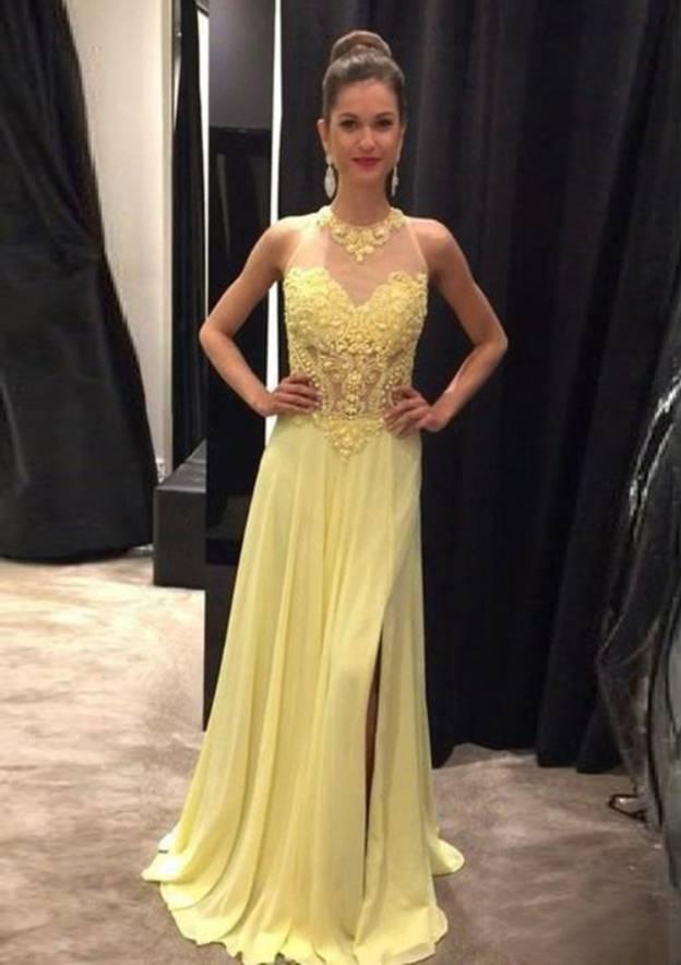 A-Line/Princess Halter Sleeveless Sweep Train Chiffon Prom Dress With Crystal Appliqued Beading