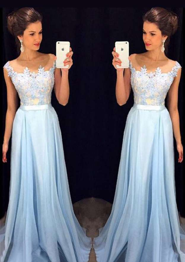 A-Line/Princess Bateau Sleeveless Sweep Train Chiffon Prom Dress With Sashes Appliqued