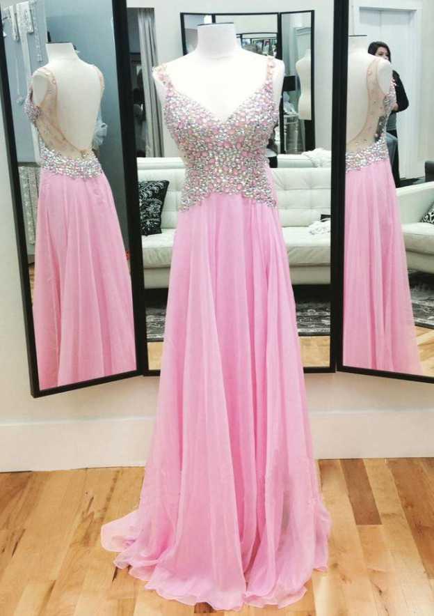 A-Line/Princess Sweetheart Sleeveless Sweep Train Chiffon Prom Dress With Crystal