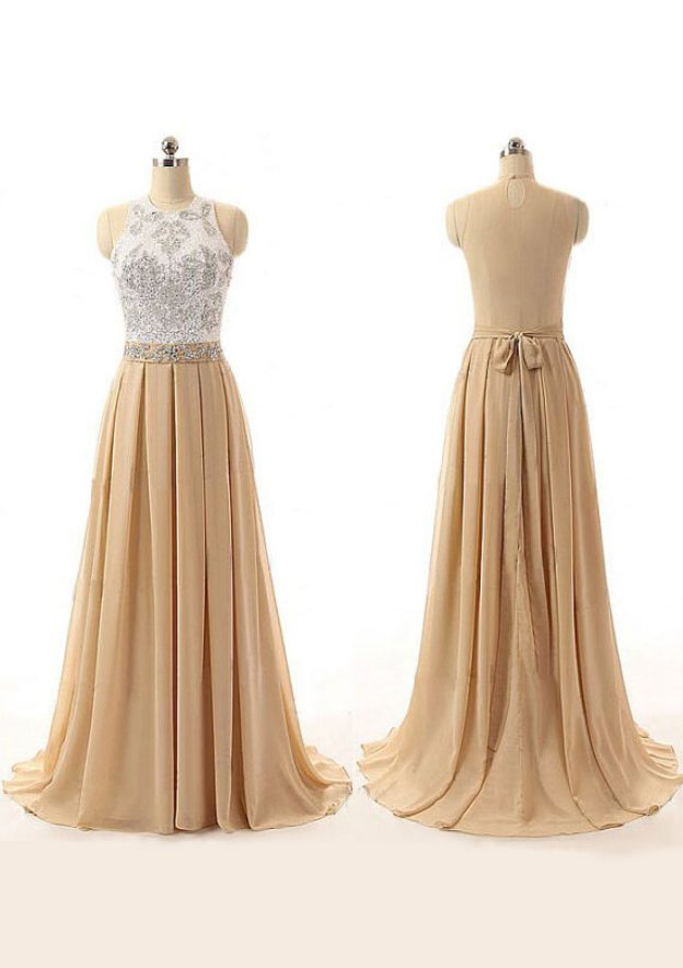 A-Line/Princess Scoop Neck Sleeveless Sweep Train Chiffon Prom Dress With Beading Appliqued