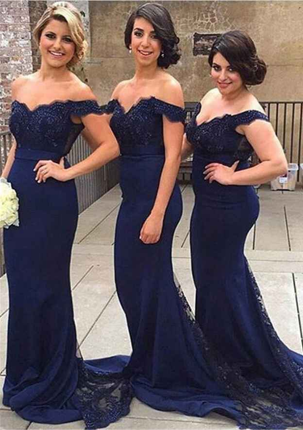 Trumpet/Mermaid Off-The-Shoulder Sleeveless Court Train Charmeuse Bridesmaid Dress With Lace Appliqued Beading