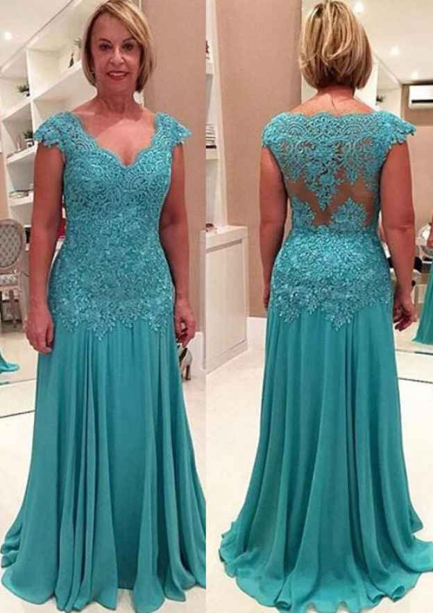Sheath/Column V Neck Sleeveless Sweep Train Chiffon Mother Of The Bride Dress With Lace