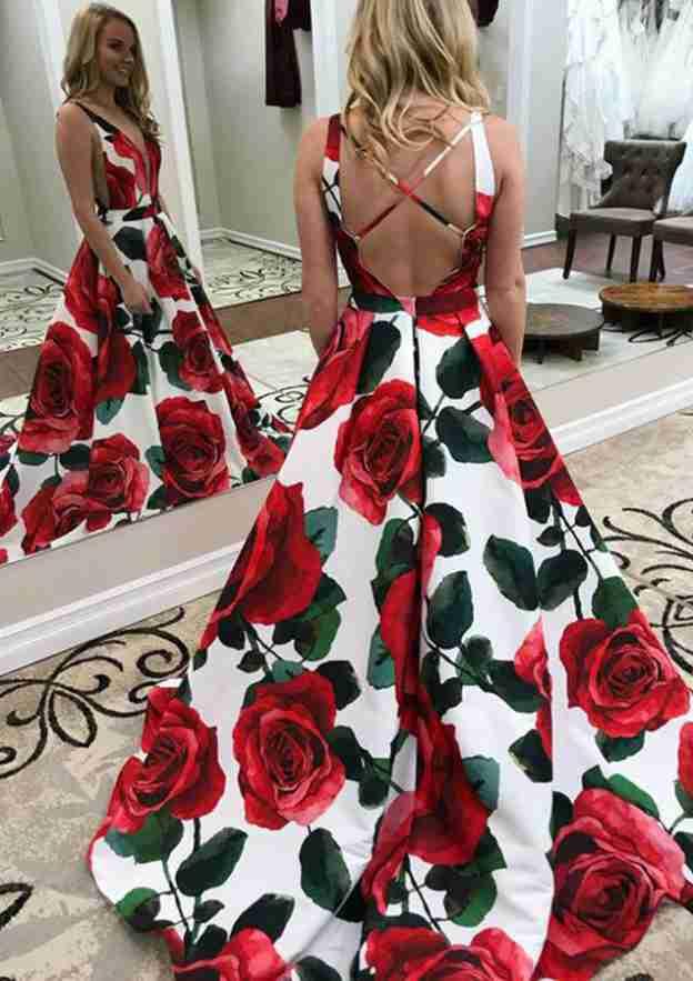 A-Line/Princess Scalloped Neck Sleeveless Court Train Satin Prom Dress