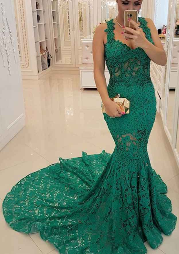 Trumpet/Mermaid Sweetheart Sleeveless Court Train Lace Evening Dress