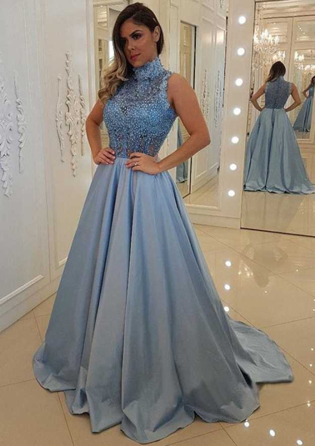 A-Line/Princess High-Neck Sleeveless Sweep Train Satin Prom Dress With Appliqued Beading