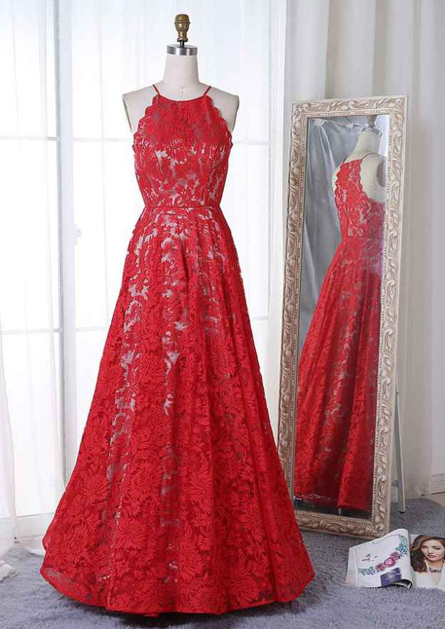 A-Line/Princess Scoop Neck Sleeveless Long/Floor-Length Lace Prom Dress