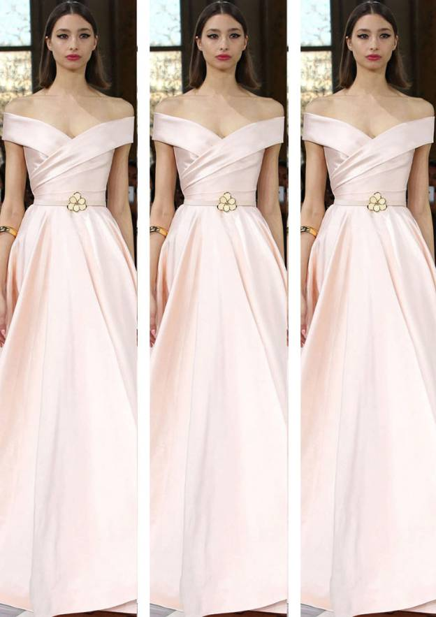 A-Line/Princess Off-The-Shoulder Sleeveless Long/Floor-Length Satin Prom Dress With Pleated