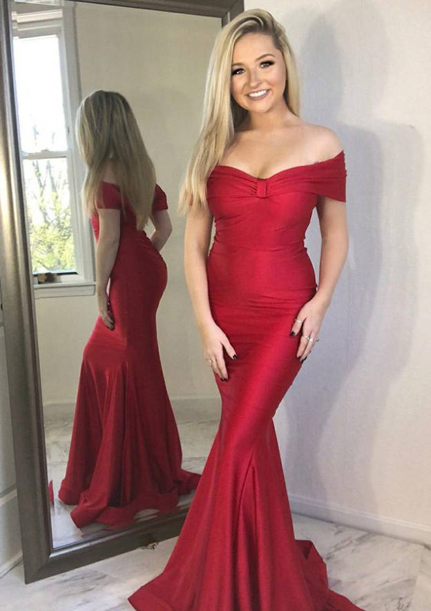 Trumpet/Mermaid Off-The-Shoulder Sleeveless Sweep Train Charmeuse Evening Dress
