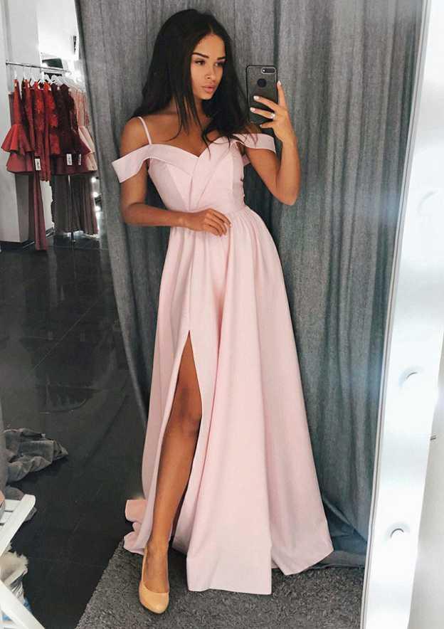 A-Line/Princess Off-The-Shoulder Sleeveless Sweep Train Chiffon Prom Dress With Split