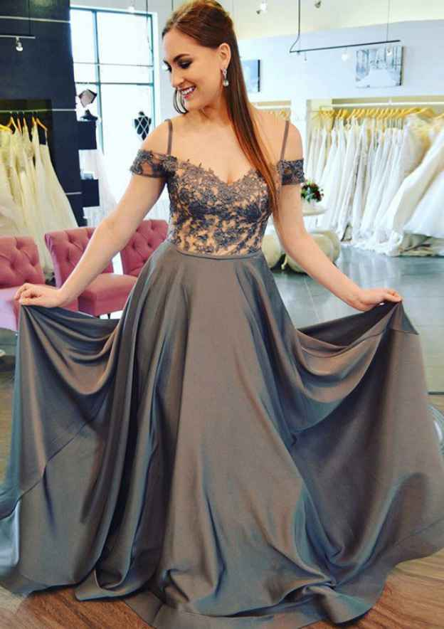 A-Line/Princess Off-The-Shoulder Sleeveless Sweep Train Charmeuse Prom Dress With Appliqued