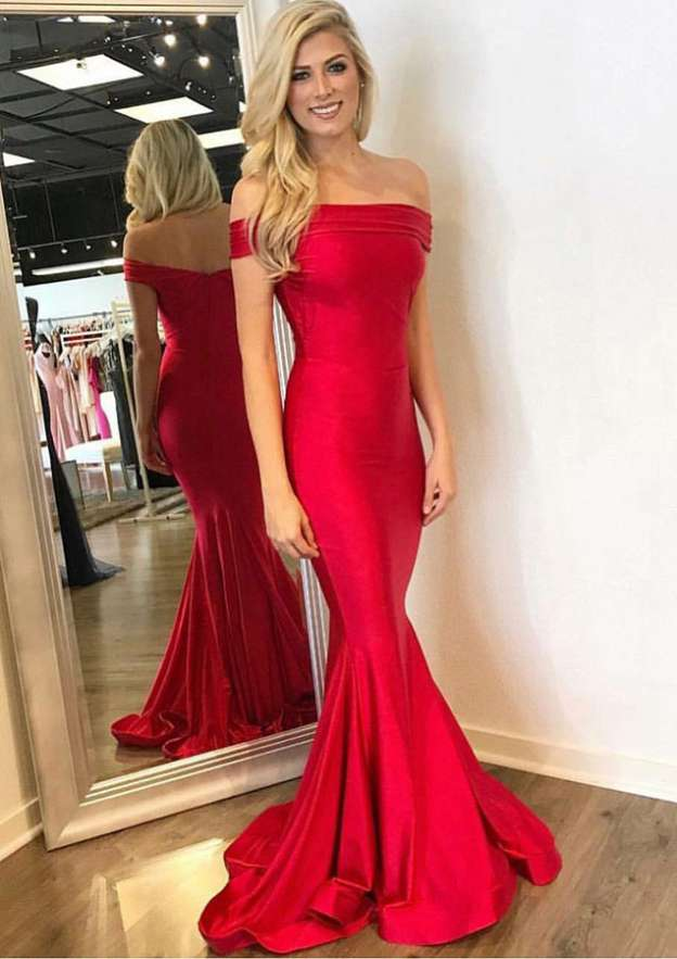 Trumpet/Mermaid Off-The-Shoulder Sleeveless Sweep Train Elastic Satin Evening Dress With Pleated