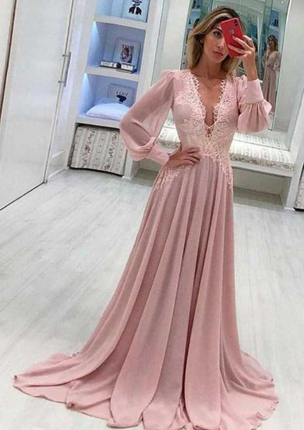 A-Line/Princess V Neck Full/Long Sleeve Sweep Train Chiffon Evening Dress With Appliqued