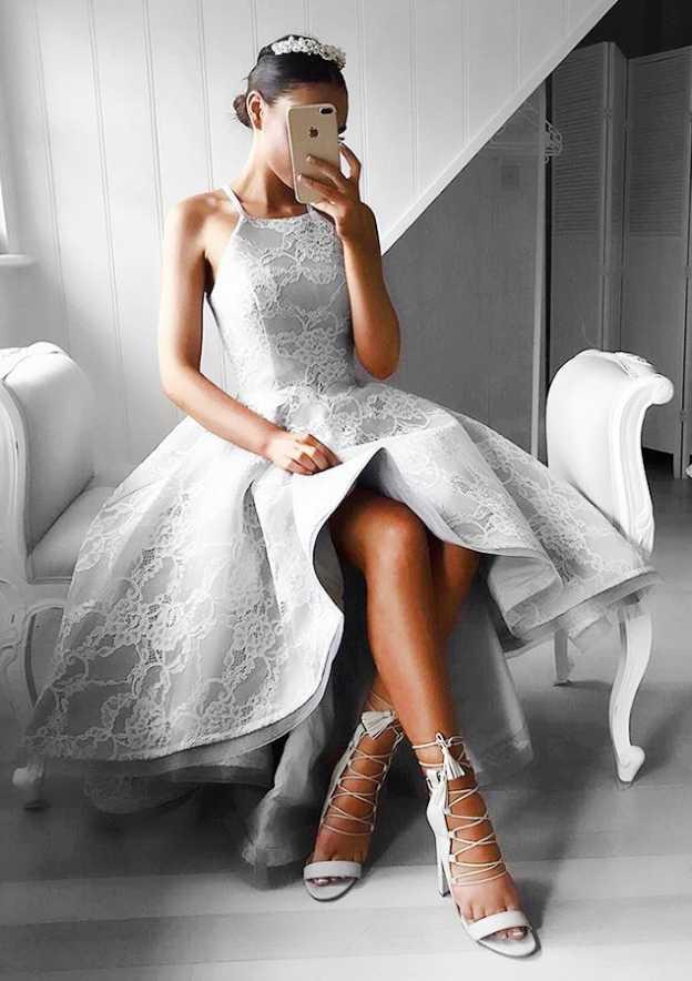A-Line/Princess Square Neckline Sleeveless Asymmetrical Lace Prom Dress