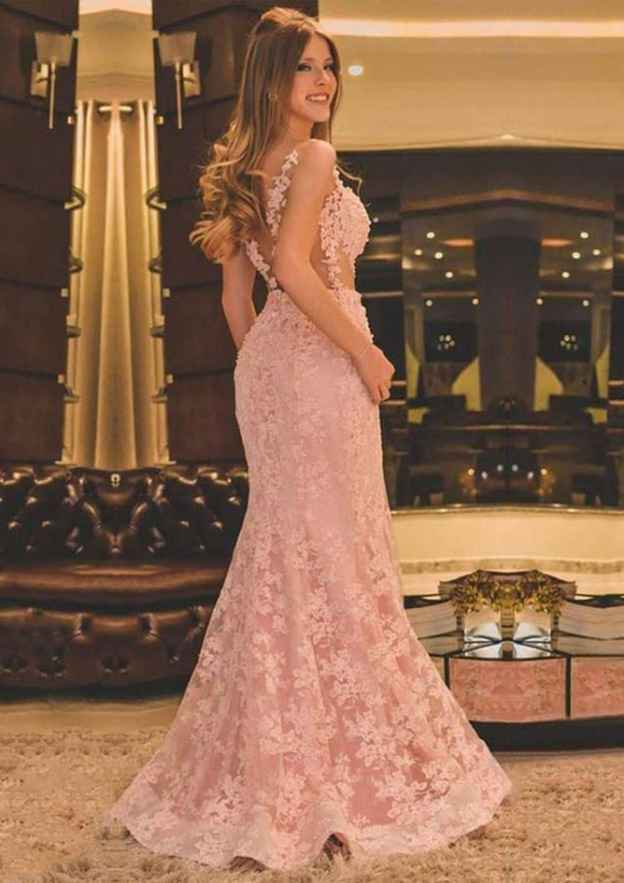 Trumpet/Mermaid Scalloped Neck Sleeveless Lace Evening Dress With Appliqued Beading