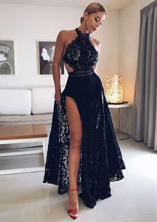 A-Line/Princess High-Neck Sleeveless Long/Floor-Length Lace Evening Dress With Split