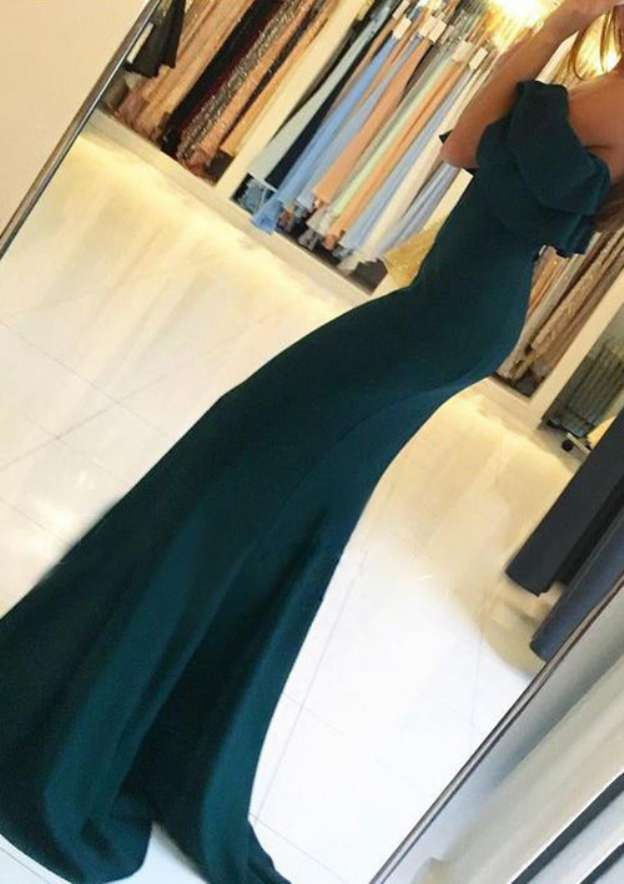 Trumpet/Mermaid Off-The-Shoulder Short Sleeve Sweep Train Elastic Satin Evening Dress With Split