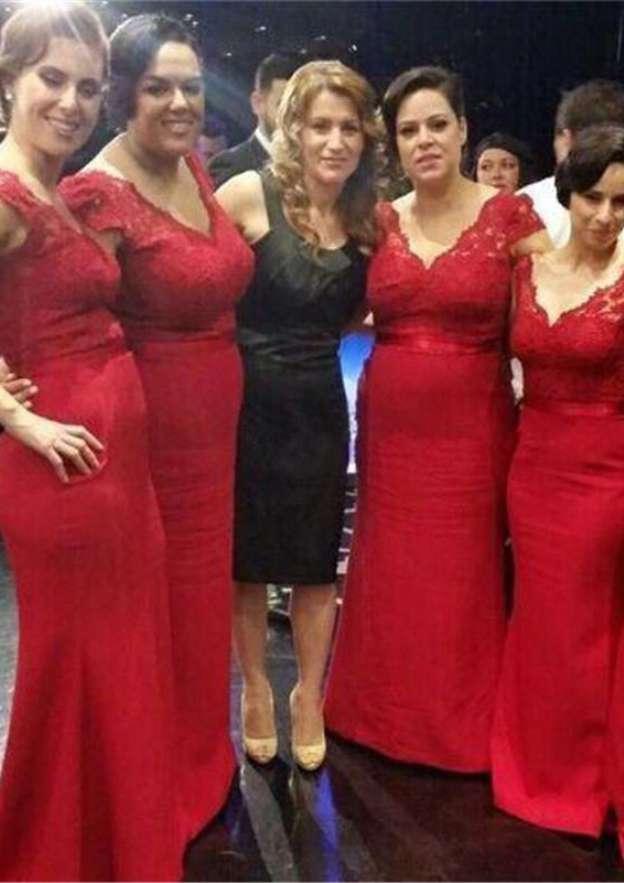Sheath/Column V Neck Sleeveless Long/Floor-Length Satin Bridesmaid Dress With Lace