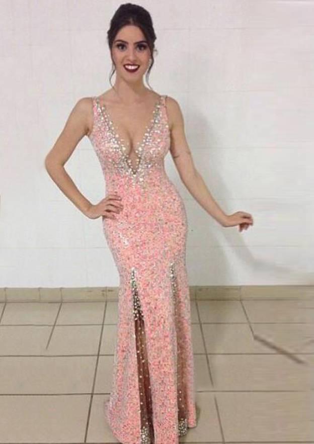 Sheath/Column V Neck Sleeveless Sweep Train Sequined Prom Dress With Beading