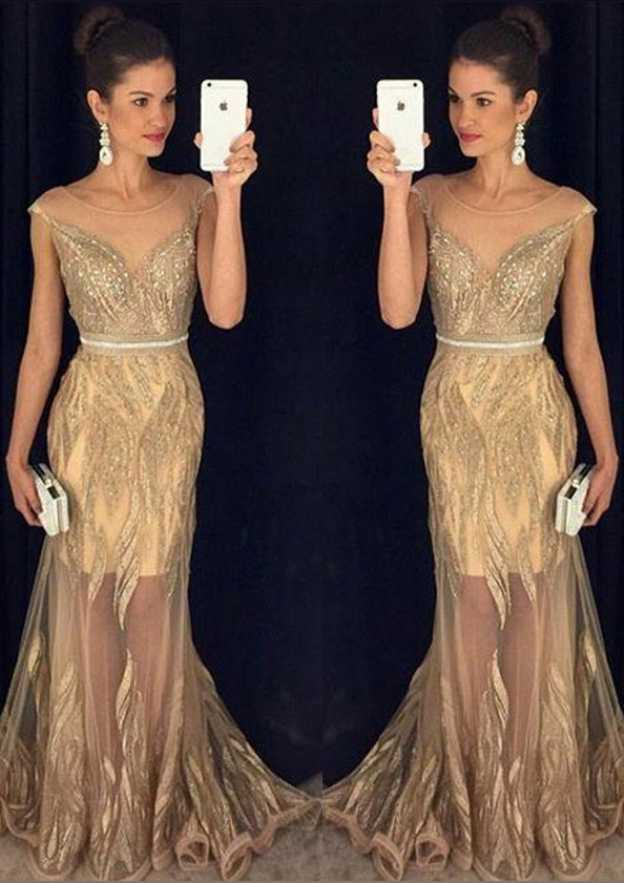 Sheath/Column Bateau Sleeveless Sweep Train Tulle Prom Dress With Waistband Beading