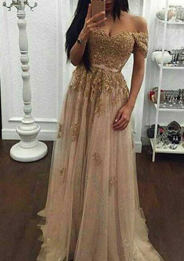 A-Line/Princess Off-The-Shoulder Sleeveless Sweep Train Tulle Prom Dress With Appliqued Beading