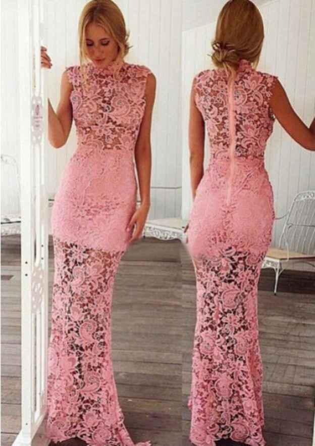 Sheath/Column High-Neck Sleeveless Long/Floor-Length Lace Prom Dress