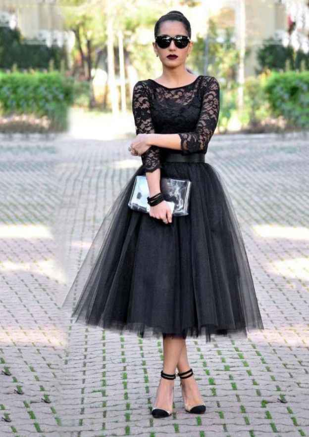 A-Line/Princess Bateau 3/4 Sleeve Tea-Length Tulle Prom Dress With Lace
