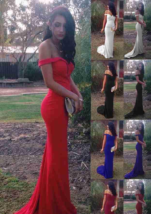 Trumpet/Mermaid Off-The-Shoulder Sleeveless Court Train Jersey Prom Dress