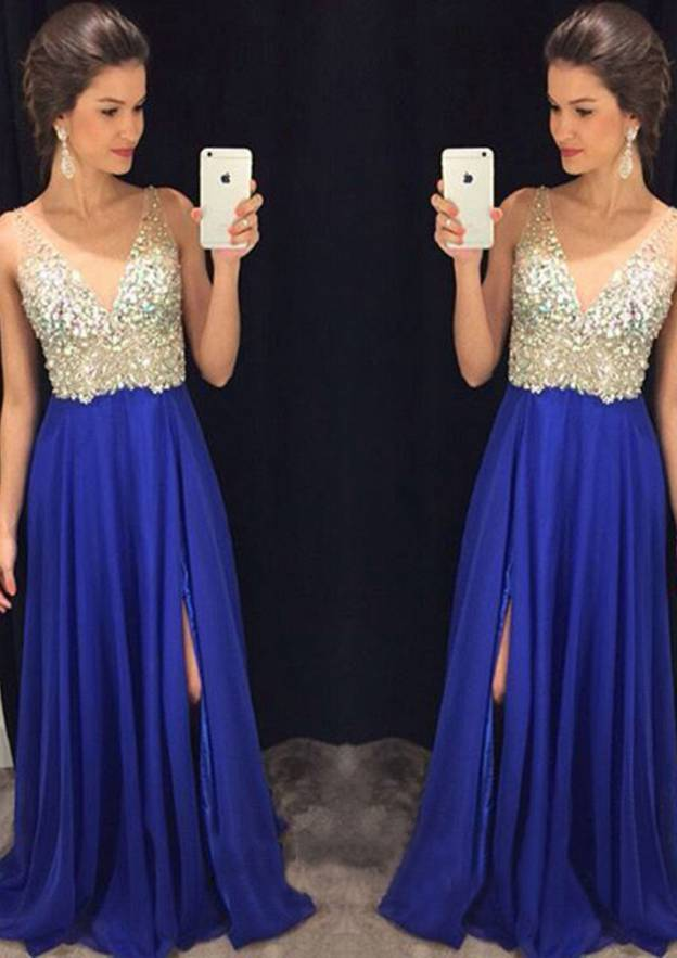 A-Line/Princess V Neck Sleeveless Long/Floor-Length Chiffon Prom Dress With Split Beading