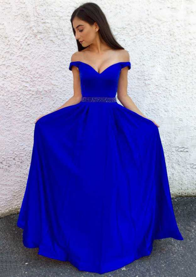 A-Line/Princess Off-The-Shoulder Sleeveless Long/Floor-Length Charmeuse Prom Dress With Waistband