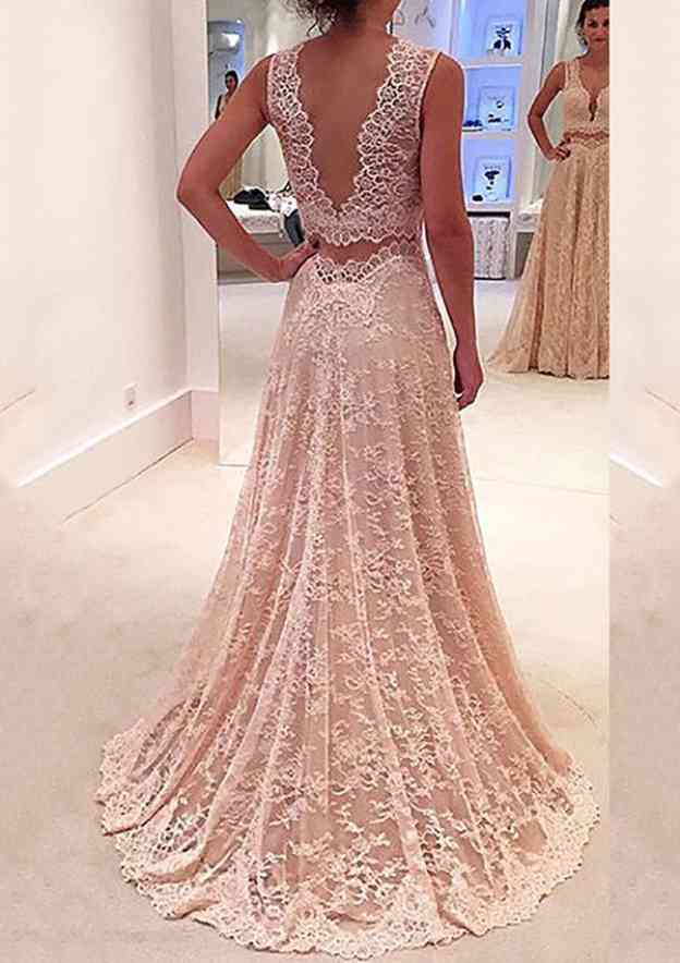 A-Line/Princess V Neck Sleeveless Sweep Train Lace Prom Dress With Pleated Appliqued