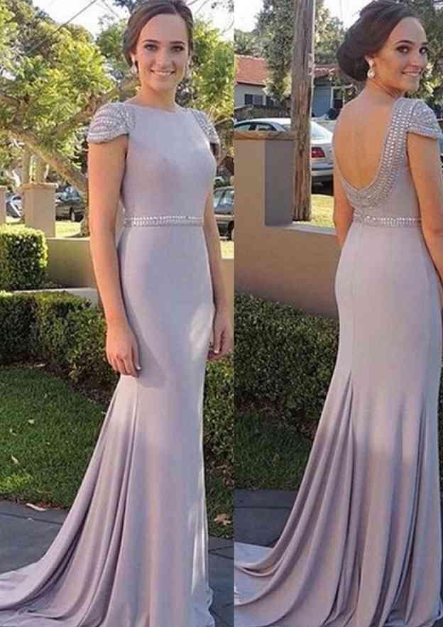 Sheath/Column Bateau Sleeveless Sweep Train Jersey Prom Dress With Beading