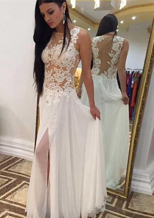 A-Line/Princess Scoop Neck Sleeveless Long/Floor-Length Chiffon Prom Dress With Rhinestone Appliqued Split